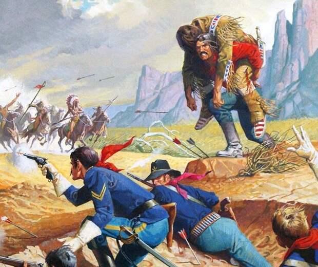Американцы отстреливаются, укрывшись в бизоньей яме, сентябрь 1874-го. Иллюстратор: Severino Baraldi