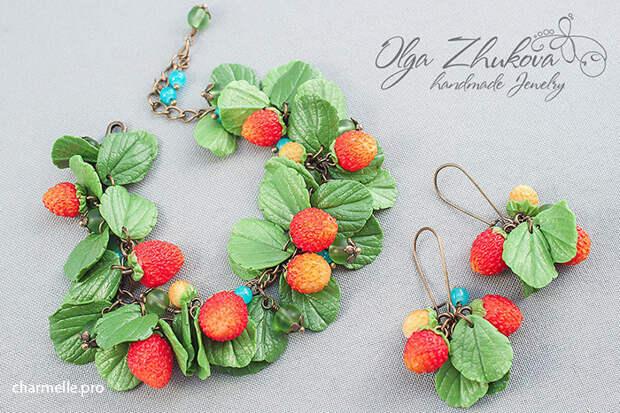 Земляника ягоды из полимерной глины