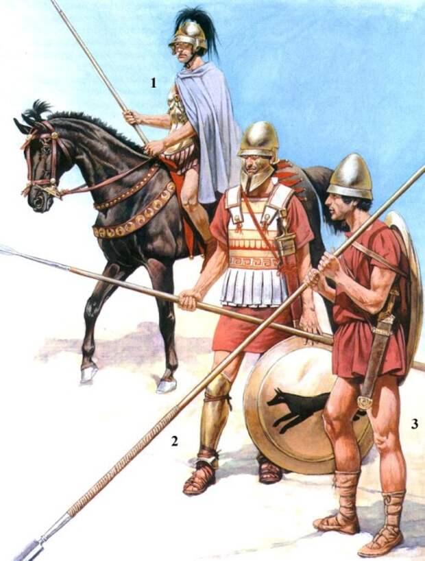 1 - всадник отряда гетайров (середина IV в. до н.э.); 2 - македонский гоплит первых шеренг фаланги (середина IV в. до н.э.); 3 - македонский гоплит задних шеренг фаланги (середина IV в. до н.э.).