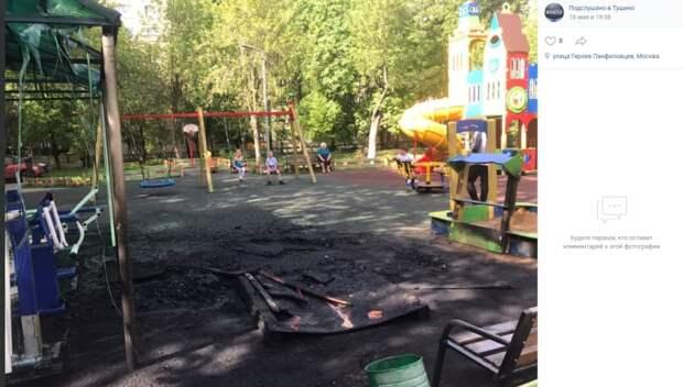 На детской площадке по улице Героев Панфиловцев сожгли беседку