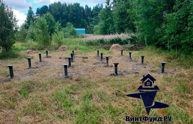 Винтовые сваи под баню 6х6 в посёлке Мельниково, Приозерского района