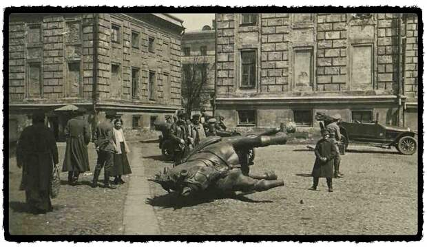 Демонтаж памятника генералу Скобелеву, 1918