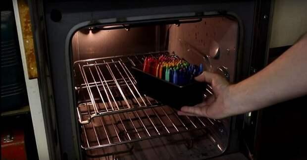 восковые мелки crayola в духовке