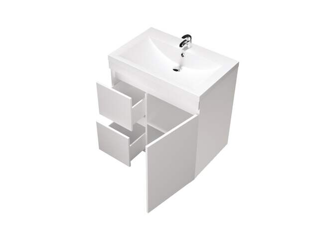 Тумбы для ванной комнаты с корпусами покрытыми пленкой ПВХ белого цвета