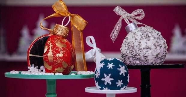 торты в виде ёлочных шаров, торт ёлочный шар, как сделать новогодний торт, рождественские торты