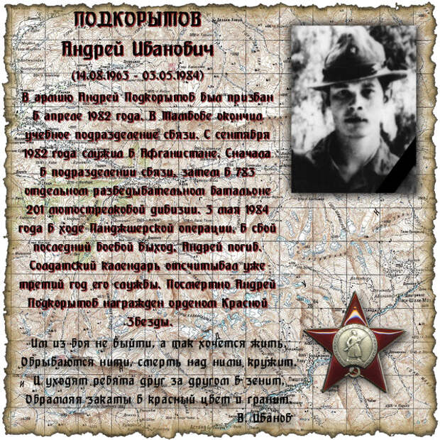 Рядовой ПОДКОРЫТОВ Андрей Иванович