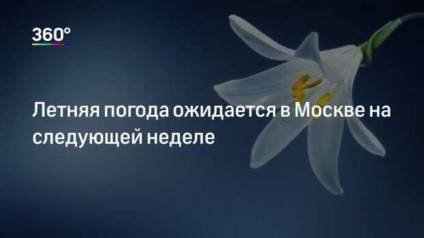 Летняя погода ожидается в Москве на следующей неделе