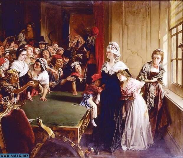 Нападение черни на Тюильри. Мария-Антуанетта защищает своих детей. Неизвестный художник.