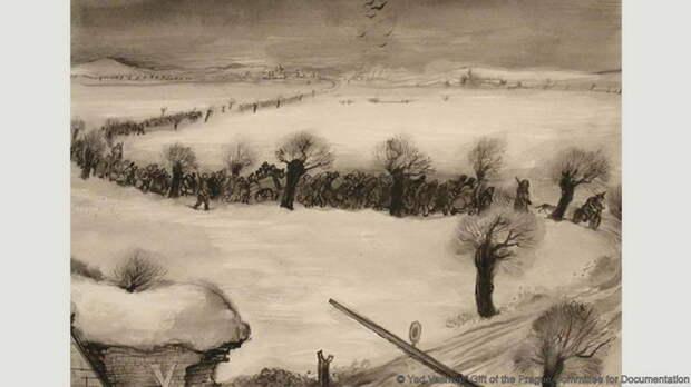 Лео Хаас, *Прибытие транспорта, Терезинское гетто*, 1942