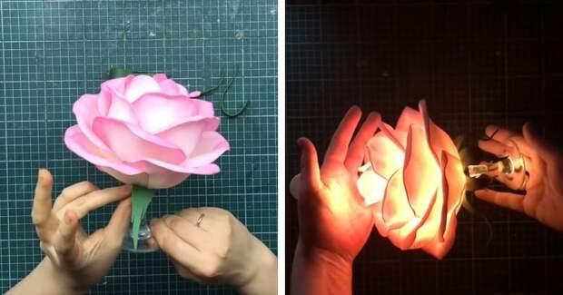 Мастерим с удовольствием: ночник роза на бокале
