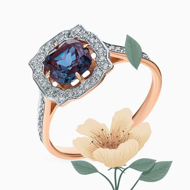 Кольцо SL, розовое золото, александрит, бриллианты