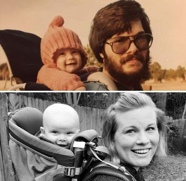 25 семейных снимков, которые воссоздали спустя много лет