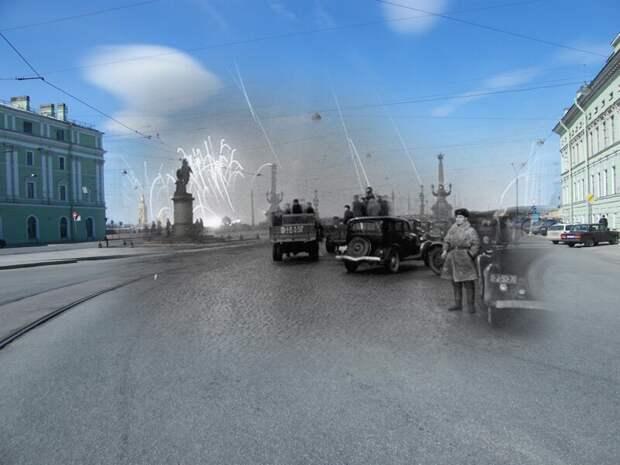 Ленинград 1944-2009 Суворовская площадь. Салют в честь полного снятия блокады блокада, ленинград, победа