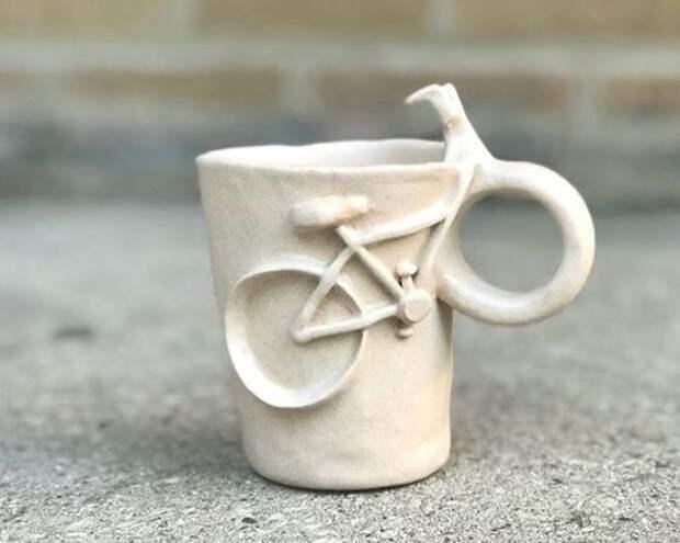 велосипед кружка ручной работы в подарок