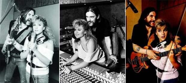 """Лемми Килмистер и Саманта Фокс во время записи песни """"Beauty And The Beast"""", Лондон, 1983 год."""