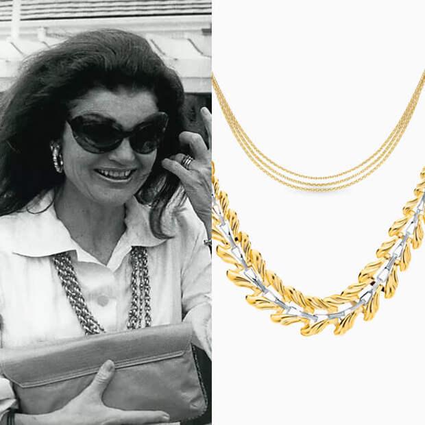 Золото на шелке: носим колье и цепочки, как это делала Жаклин Кеннеди