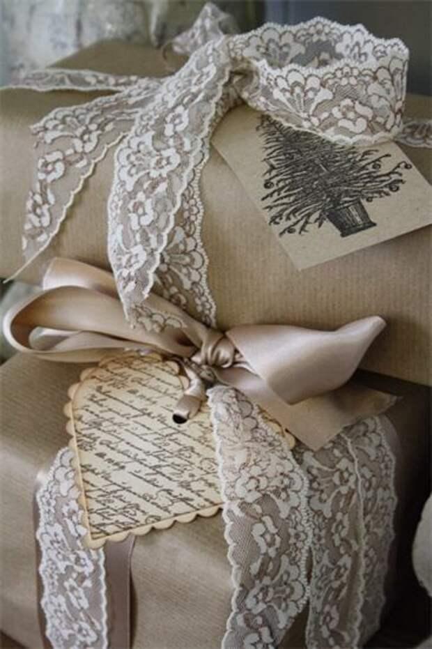 новогодней упаковки подарков из крафта