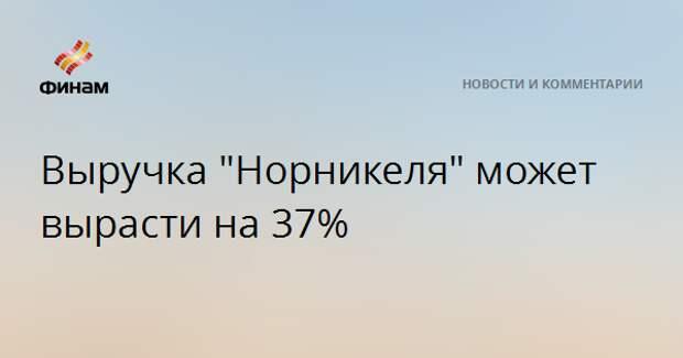 """Выручка """"Норникеля"""" может вырасти на 37%"""