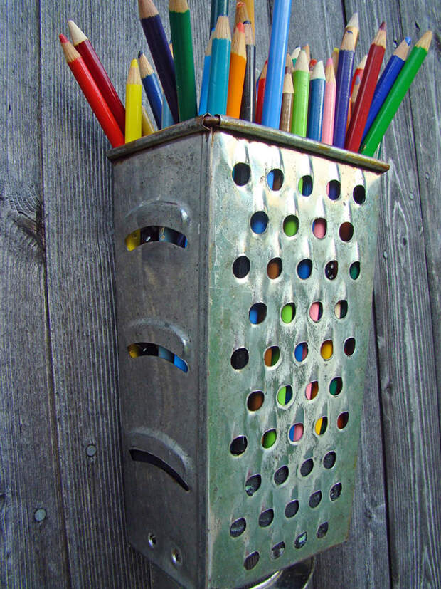 Cheese Grater Pencil Holder