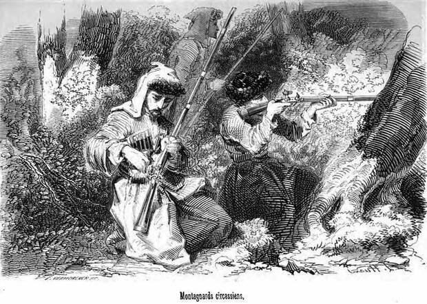 """Черкесские горцы (автор Адольф Лоран Джоан (1813-1881), из его книги """"Путешествие на Восток"""")"""