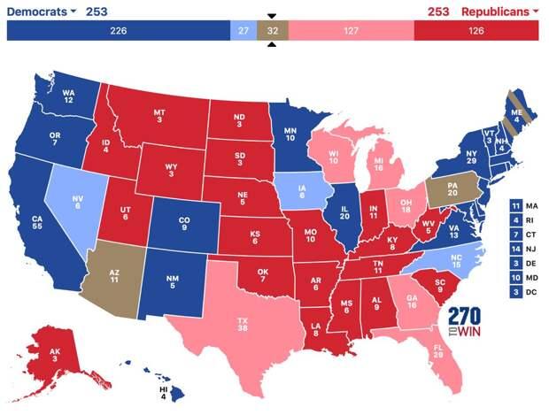 Онлайн-подсчёт голосов на выборах в США. Результаты