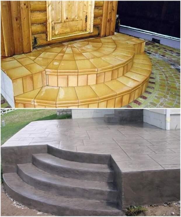 Крыльцо из бетона можно украсить напольной плиткой или декоративным камнем.   Фото: domiktop.ru.
