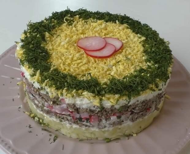 Идеальный слоеный салат с редиской