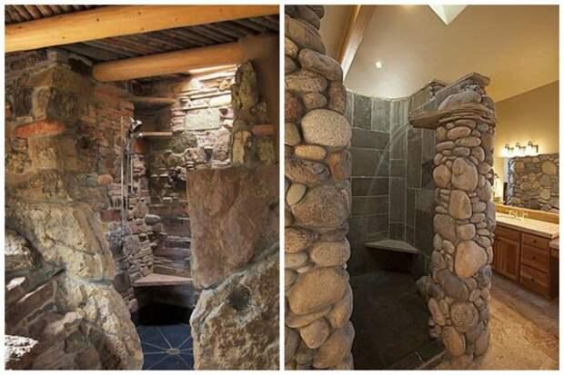 А это вообще сплошь каменный душ, как в пещере. Красота! Фабрика идей, дизайн, дом, интерьер, камни, красота