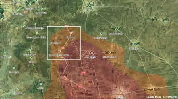 Места обстрела на карте северного Алеппо