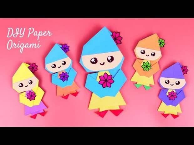 DIY Кукла из бумаги   Как сделать оригами куклу своими руками   Легкие ...