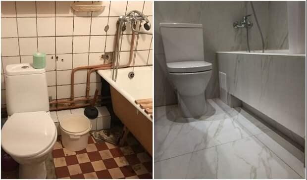 Заметное преображение ванной комнаты.