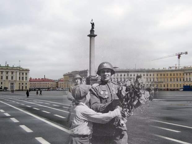 Ленинград 1945-2009 Дворцовая площадь. Встреча победителей блокада, ленинград, победа