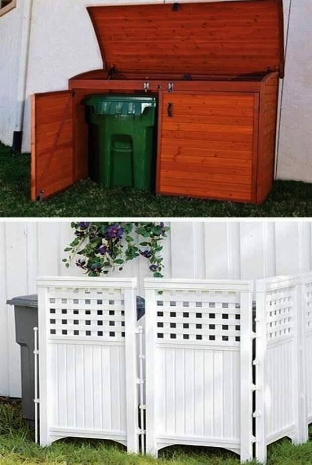 Контейнер и ширма для маскировки мусорных контейнеров.