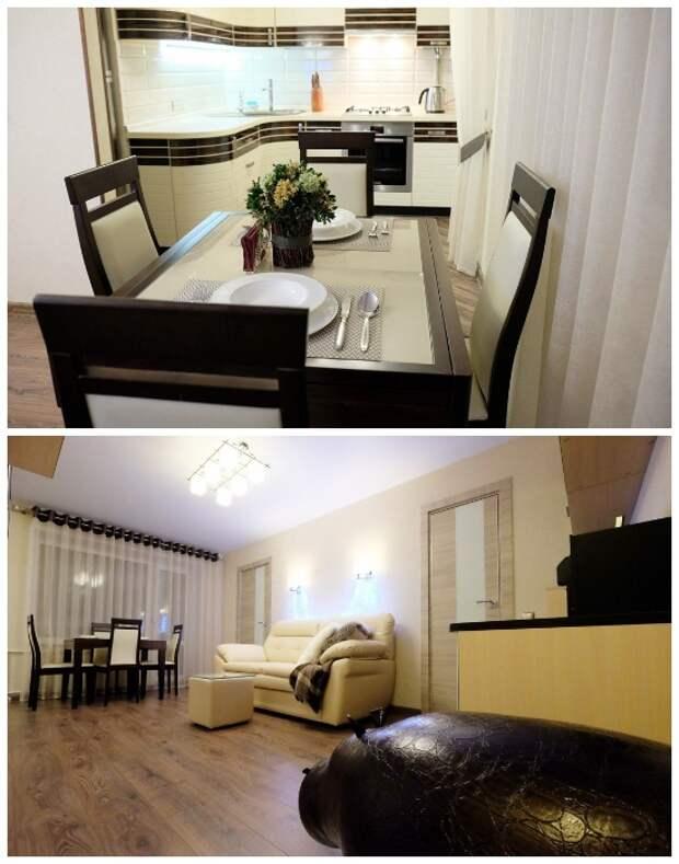 Просторная гостиная-столовая – идеальное место для романтического вечера или дружеской вечеринки.