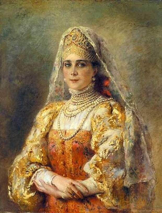 К.Е.Маковский Портрет З.Н.Юсуповой в русском костюме 1900-е годы