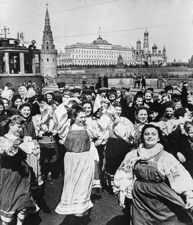 Празднование Дня Победы в Москве.