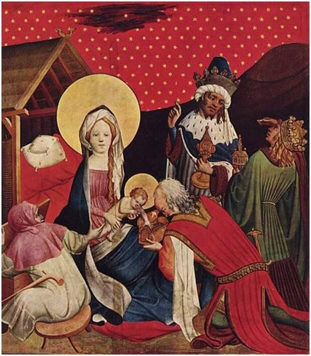 Вифлеемская звезда на картине немецкого художника Мастера Франке «Поклонение волхвов» (около 1424 г.). (Иллюстрация: Wikipedia.)