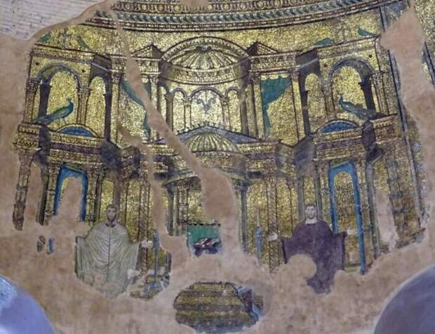 Ранневизантийские мозаики на куполе Ротонды в Салониках. \ Фото: pinterest.ru.