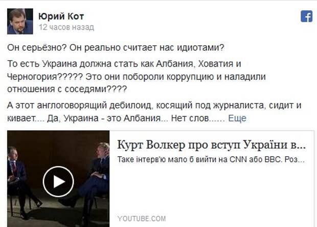 Украинцы, вас считают идиотами и заливают вам полное д***мо из лжи и фальши: Кот разнес интервью Волкера