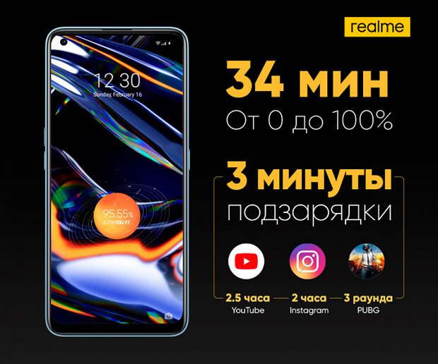 Первые в России 65 Вт для зарядки за 34 минуты. Realme 7 Pro представлен в России с заметной скидкой