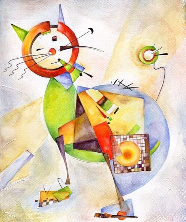 Кот в стиле Василия Кандинского.