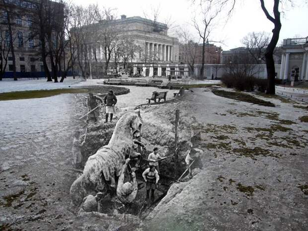 Ленинград 1945-2009 Аничков сад. Выкапывание из земли коней Клодта перед установкой их на свое место блокада, ленинград, победа