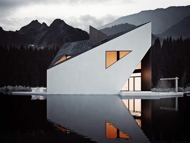 Геометрические линии дома на озере.