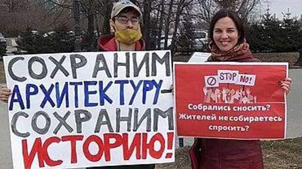 Пикет против сноса здания речного вокзала прошёл в Барнауле