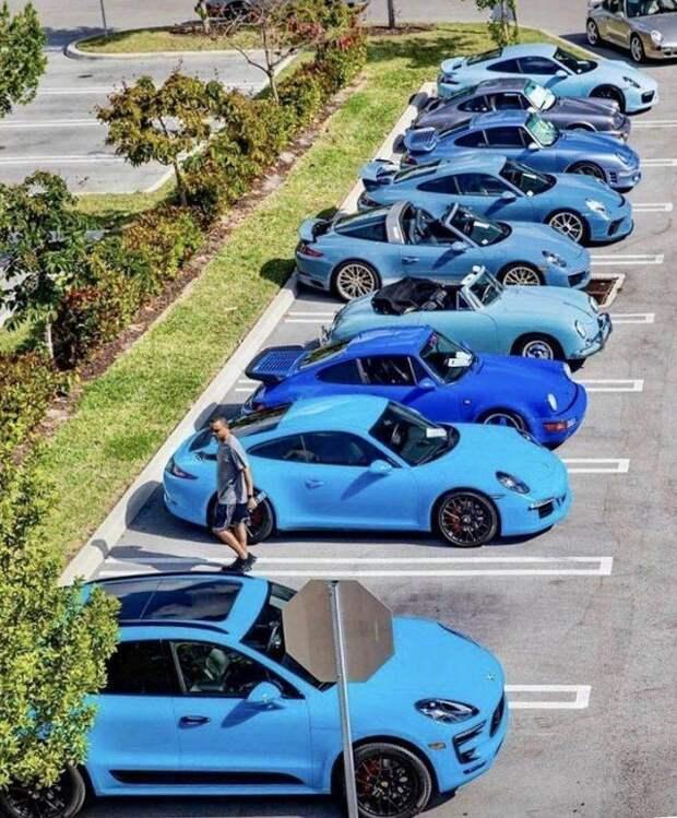 Синие Porsche на стоянке