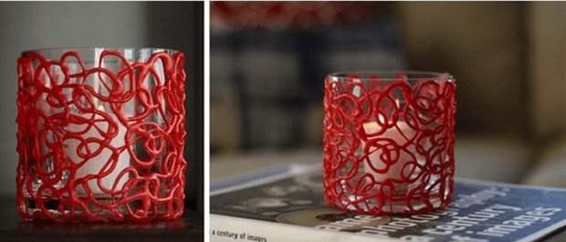 Весьма приятное решение украсить бокалы очень интересными красными узорами.