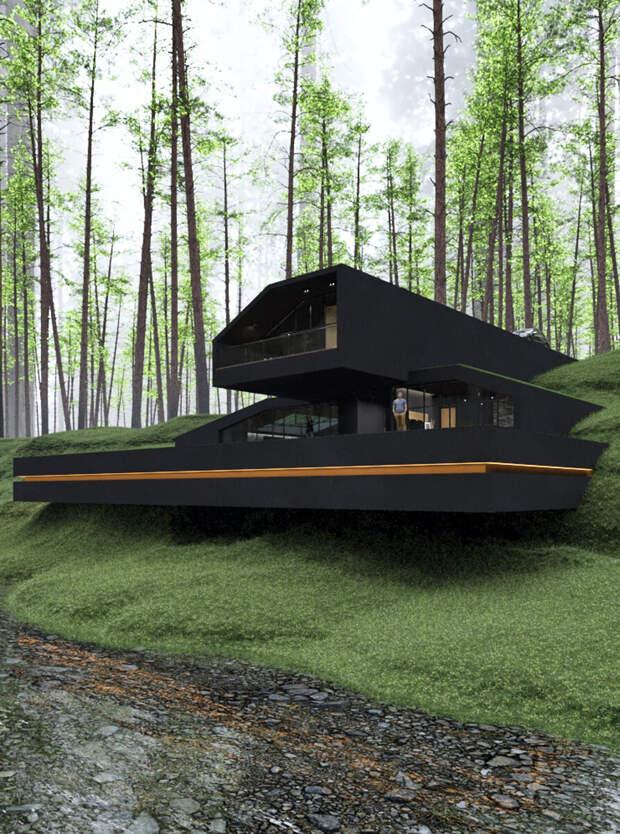 Черная вилла в государственном парке Гарриман, Нью-Йорк, спроектированная Резой Мохташами