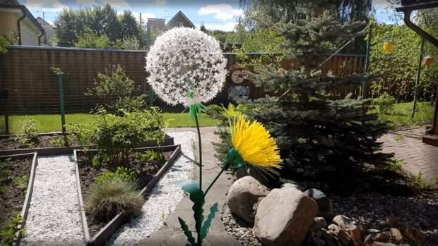 Прекрасный садовый декор из пластиковых бутылок