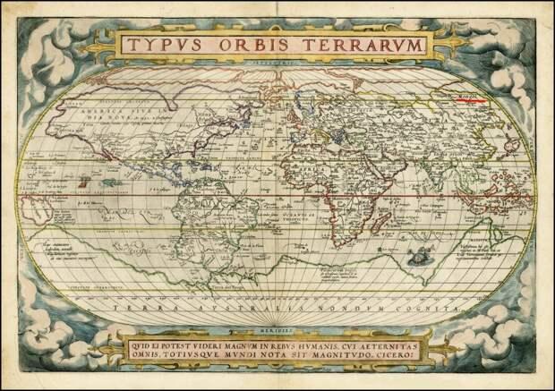 Это атлас Абрахама Ортелиуса 1572г. На карте справа вверху - видите красную полосочку? (ниже этот фрагмент будет увеличен )
