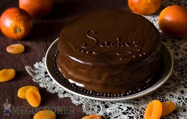 Шоколадный бисквитный торт Захер